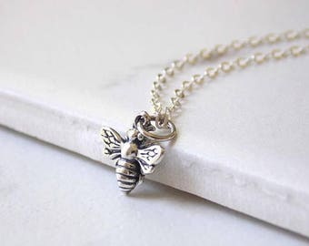 Sterling Silver Bee Necklace. Bee Jewelry, Silver Bee, Bee Charm