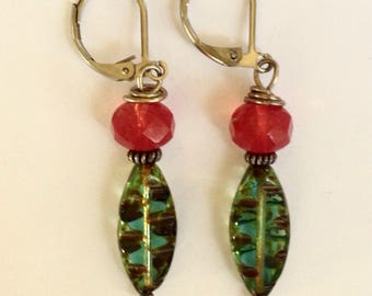 Poppy Red and Aqua Beaded Earrings On Antique Silver Leverbacks