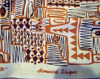 1970's Harwood Steiger Grand Canyon Modern Fabric, Harwood Steiger, Grand Canyon, Rare, Yellow, Rust, Arizona, Tubac, Cotton, Silk Screen