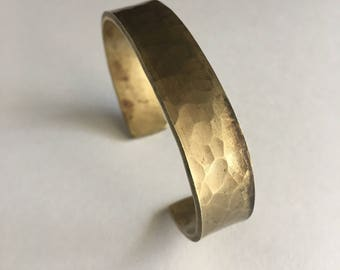 Men's Brass Cuff Hammered Texture Wide Brass Cuff Bracelet Mens Cuff