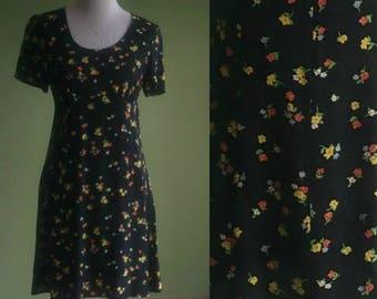 1990s Laura Ashley Floral Print Dress - 90s Rayon Babydoll Dress - Mini Dress - Small  Medium