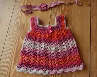 crocheted baby dress / little girls dress / baby dress and headband set /   tie back headband / newborn / hand made