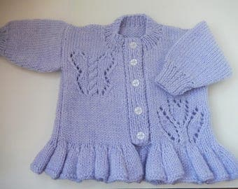 hand knitted baby girls cardigan / lilac cardigan / sweater with butterfly and flower / baby sweater / 0-3 month