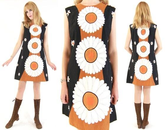 Vtg 60s Alice Polynesian Rare Daisy Mod Dress M/L