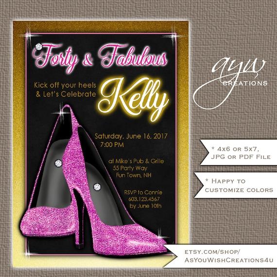 40th birthday invitation woman high heels birthday party invitation il570xn filmwisefo