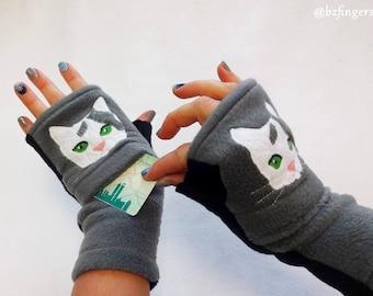 Cat Portrait Fingerless Gloves with Pockets. Cat Lover Gift.