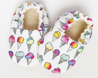 Ice Cream Cone Soft Sole Baby Shoes. Ice Cream Baby Booties. Ice Cream. Baby Booties. Crib Shoes. Organic Baby Shoes. Vegan Shoes