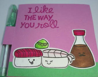 Kawaii Sushi set, post it note set, kawaii gift, I like the way you roll, Foodie gift, Funny Sushi