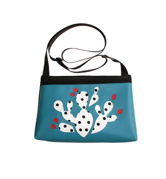 Prickly Pear cactus, polka dot, black and white, blue vinyl, medium crossbody, vegan leather, zipper top