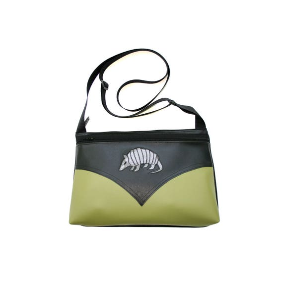 Western, Armadillo, green vinyl, silver glitter vinyl, medium crossbody, vegan leather, zipper top