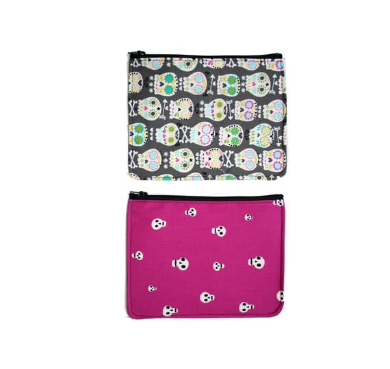 zipper pouch, cosmetic bag, change purse, skulls, vinyl