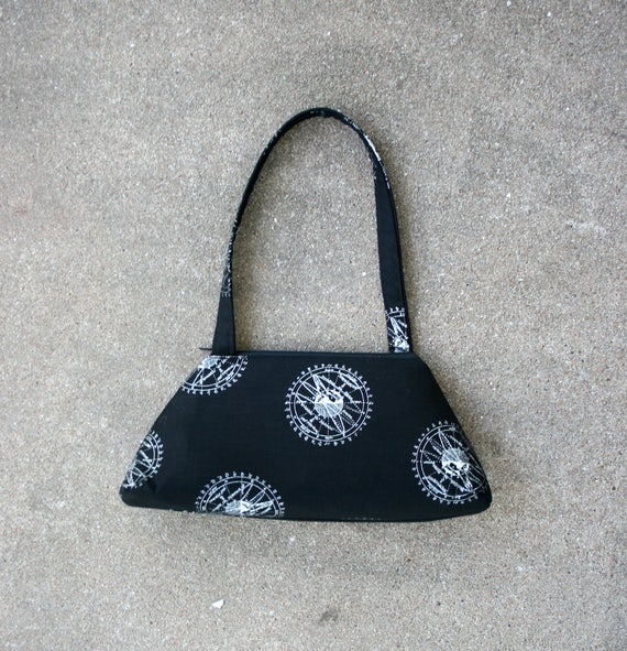 SALE!! SMALL Retro Tote, textbook, black, metallic, astronomy, structured bag, vintage inspired