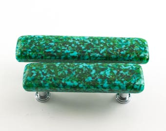 Green Glass Cabinet Pulls, Unique Drawer Knobs, Modern Cabinet Hardware, Teal Kitchen Decor, Unique Home Accents, Choice of Size and Finish