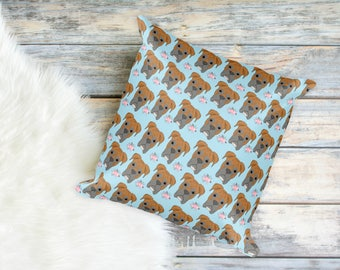 Floral Boxer Print Pillow for Dog Moms