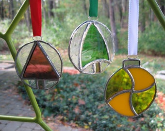 Stained Glass Christmas Ball Ornaments
