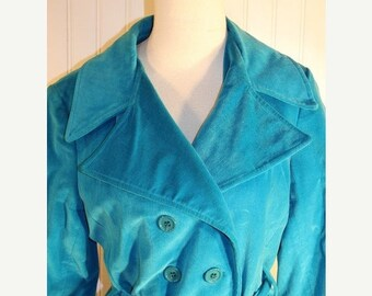 60% OFF Clearance Sale 70's Vintage Retro Aqua Teal Velvet Double Breasted Trench CoatHippie Coat Woodstock Rockabilly SZ S/M