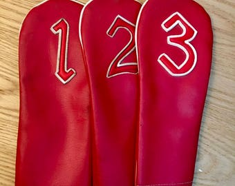 Set of Three Red Vinyl Vintage Golf Club Covers, 1, 2 and 3
