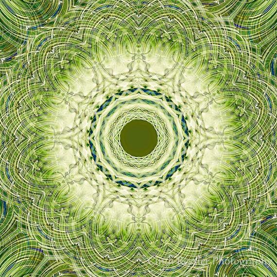 Photography, Green Sapphire Mandala, Photo, Mandala, Fine Art, Abstract, Abstract Art, Wall Art, Housewarming Gift, Nature Inspired, Gift