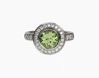 Peridot ring, diamond, engagement ring, halo, green engagement, peridot, diamond ring, halo engagement, bezel, rose gold ring, custom