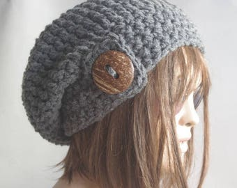 womens hat winter hat hats  chemo hat Slouchy Hat GRAY Knit Hat children hat button beanie valentines day Woman Crochet hat Gift for her