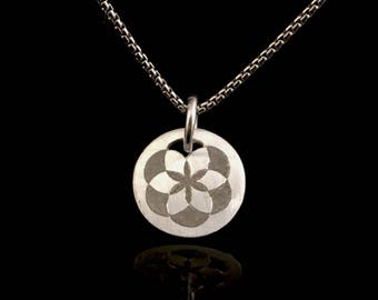 Flower of Life Hand Engraved Silver Pendant - Karmic Coin