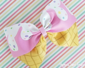 Ice Cream Hair Bow, 8 inch Oversized Pink hairbow, Pastel hair bow, Kawaii bow, Hand Painted bow, hair bows for girls, Lolita bow, Fairy kei