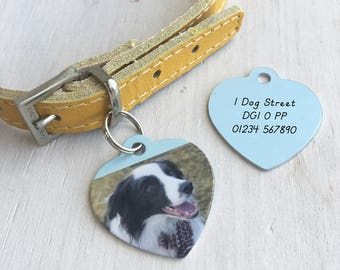 Photo Pet Name Tag - Photo Collar Tag - HEART