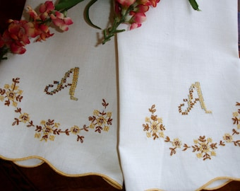 "Towels, Monogrammed Towels, ""A"", Tea Towels, Linen Towels, Guest Towels, Vintage Towels, Hand Towels, Set of Towels, Embroidered, Handmade"