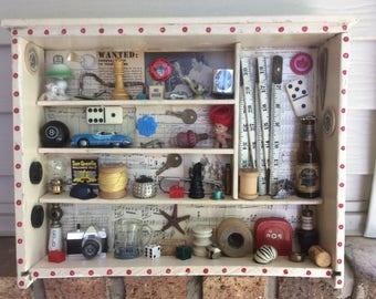 THE MAN CAVE ~ Recycled Stuff 3D Art Shadow Box Diorama Mixed Media  Assemblage