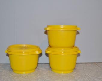 Vintage Tupperware Servalier Containers Set of 3~ 70s Kitchen Storage ~ Yellow Tupperware