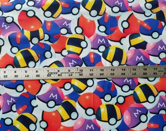 FABRIC - Pokeballs (poly knit)