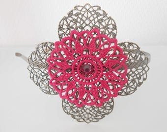 Hot pink lace flower headband