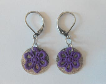 Earrings with spangled sequins and hand-painted purple lace flowers.