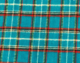 FLANNEL FABRIC- Turquoise Plaid Flannel Apparel Fabric by the Yard-Plaid Flannel Fabric-Apparel Fabric
