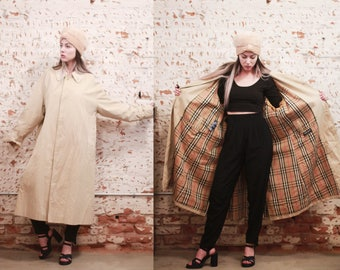 Vintage 1980s large / XL Authentic Burberry / Burberry's trench coat - duster jacket / tartan plaid interior - khaki light beige