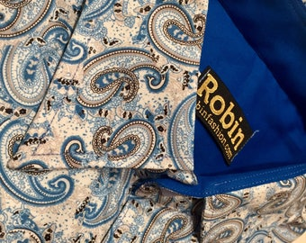 Men's shirt paisley print turqoise with block colour inside collar, cuffs. SHORT sleeves Egyptian cotton