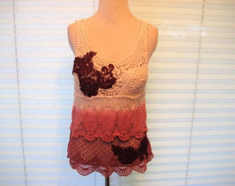 Crochet summer top, open weave, rust burgundy, ivory tank top, upcycled tank top, gypsy cowgirl, boho chic, bohemian, medium