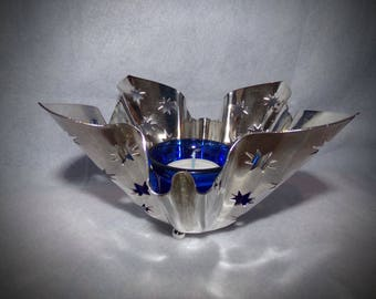 Vinatage Silver Plate Candle Holders,Shabby Chic, Star Cutout Candle Holders. Godinger  Bowl Basket, Retro Decor. Cottage Decor. Star Decor.