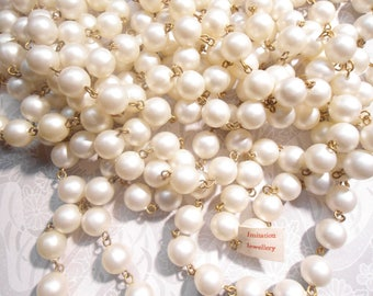 10 Ft. of 10mm Imitation Pearls Chainlinked White Fresh Water