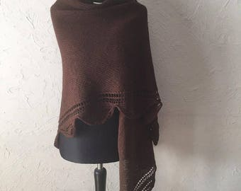 Hand knitted Brown shawl