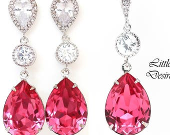 Pink Jewelry Set Hot Pink Earrings Necklace Swarovski Crystal Rose Pink Fuchsia Pink Bridesmaid Gift Cubic Zirconia Hypoallergenic RP31JS