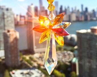 Crystal Suncatcher Swarovski Suncatcher Glass Ornament Window Suncatcher Icicle Prism Topaz Yellow Red Fall Colors Decorative Glass Accent