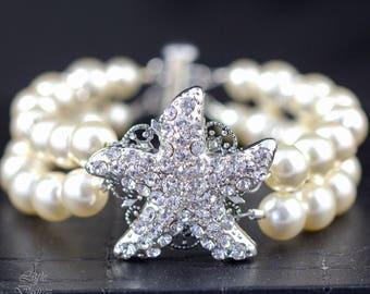 Starfish Bracelet Crystal Starfish Bracelet Pearl Wedding Bridal Bracelet Bridal Starfish Bracelet Beach WeddingJewelry Starfish Jewelry KAI