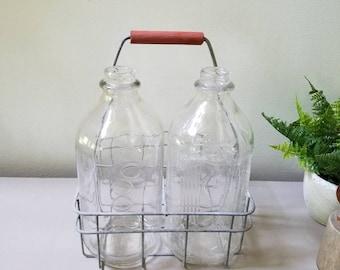 Antique Metal milk bottle holder with 2 Half Gallon Bottles