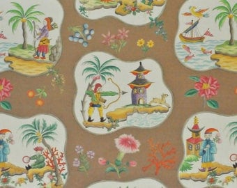 CLARENCE HOUSE Chinoiserie Pagodas Toile Linen Fabric 10 Yards Brown Multi