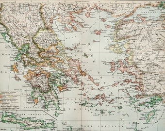 Old map of greece etsy gumiabroncs Image collections