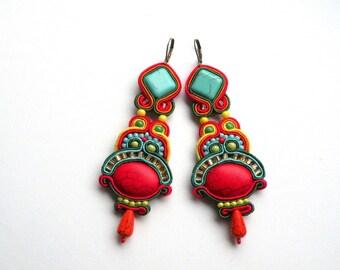 Earrings-Soutache Jewelry-Hand Embroidered-Montezuma-OOAK