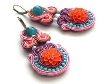 Earrings-Soutache-Hand Embroidered - Orange Garden