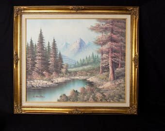 Oil On Canvas Forest Lake Mountain - Signed K. Houston Impressionist Vintage Artwork - Gold Gilt Art Nouveau Style Frame - Pastel Colors