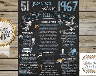 1967 BIRTHDAY CHALKBOARD - Adult Birthday Sign - 51 years ago BACK in 1967 - Ideal 4 Birthday Party - Instant Download - Digital Printable